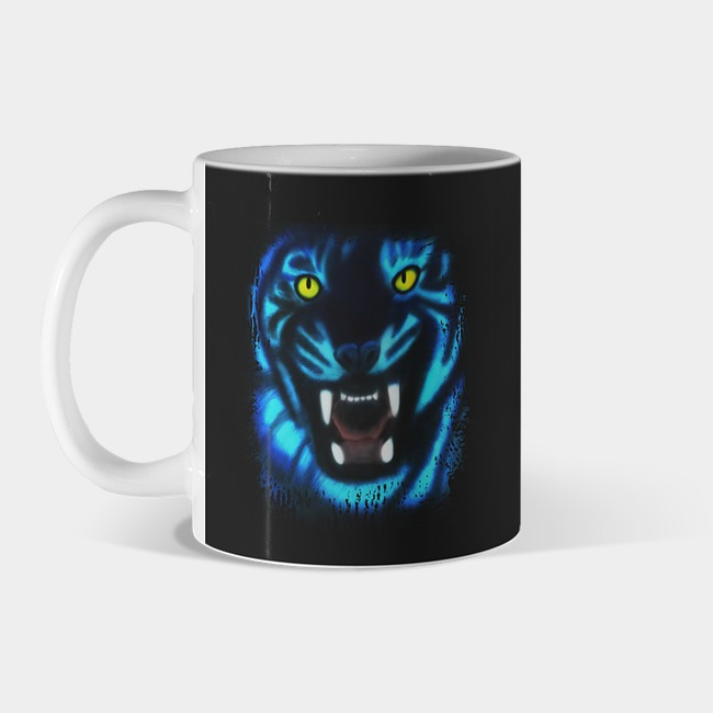 Blue Psychedelic Demonic Tiger With Bare Teeth Digital