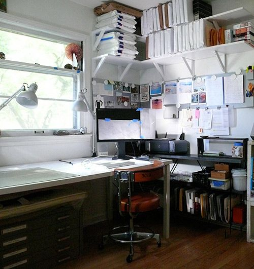 Wall Shelves Can Save A Lot Of Space In A Small Art Studio/office