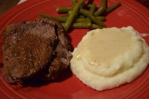 Roast Beef with Green Beans and Whipped Potatoes
