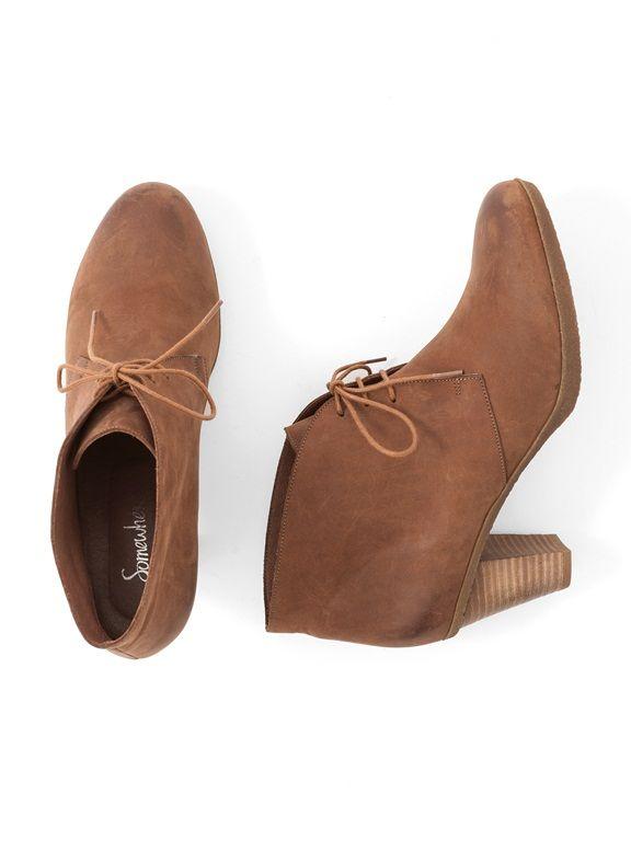 22320b322 Low boots femme cuir à lacets talon haut, GINAMA COGNAC+NOIR ...