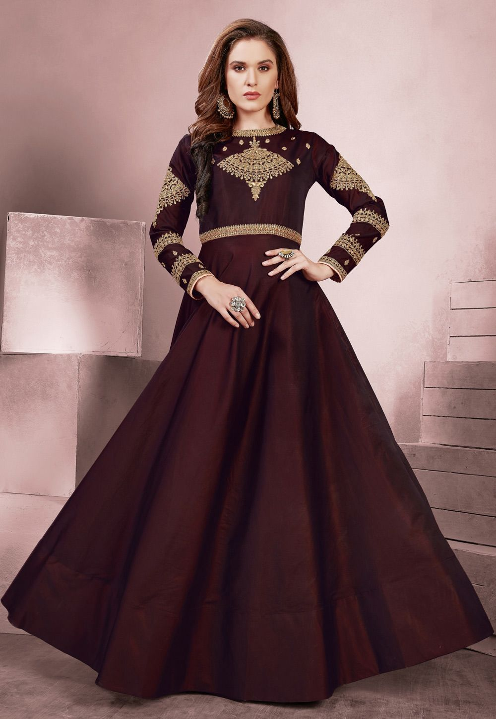 98dad98f4e3 Shop Wine Taffeta Readymade Party Wear Gown 155021 online at best price  from vast collection of designer kurti at Indianclothstore.com.