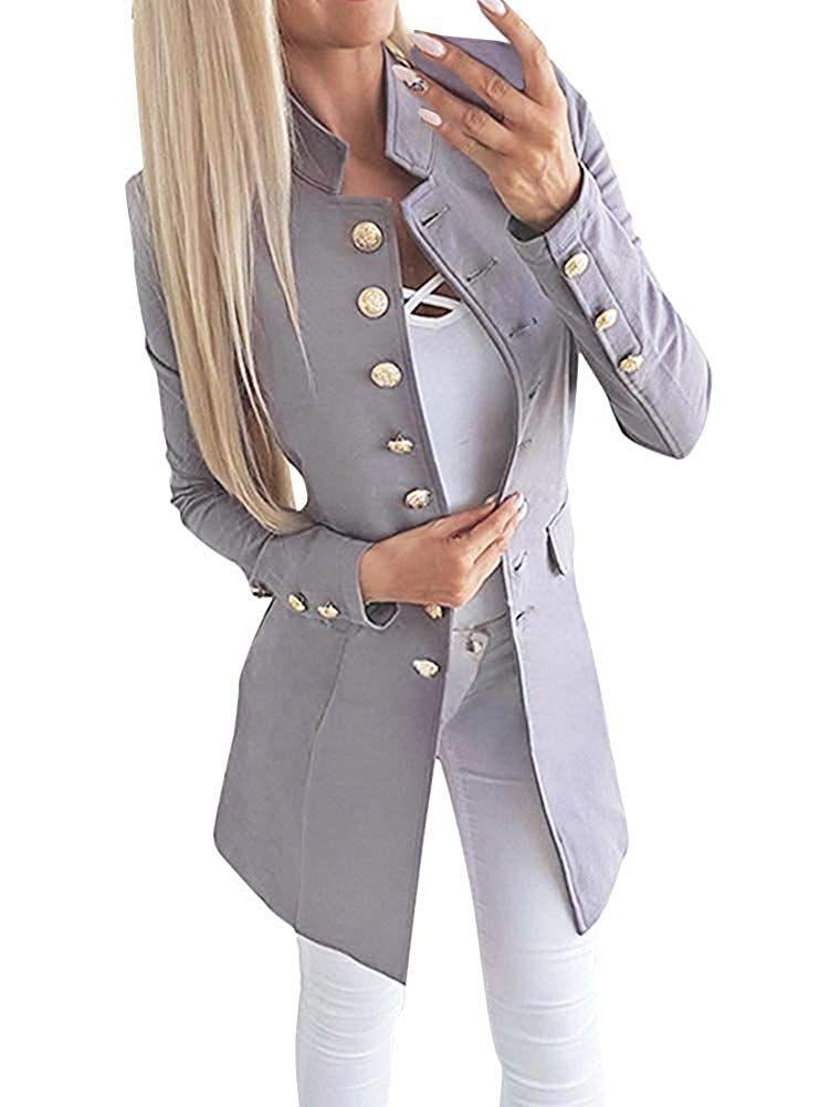 Damen Langarm Mantel Cardigan Business Casual Outwear Jacke Blazer Anzug Jacken