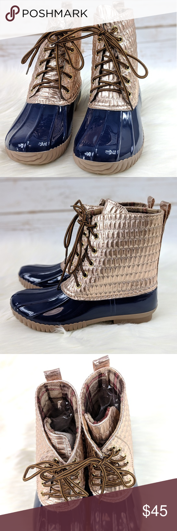 43c8973c6f57 Yoki Pleated Rose Gold Metallic Duck Boots  New Boutique Item  When the  weather is bad