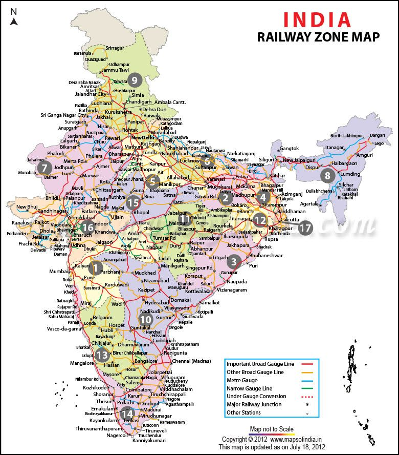 Indian Railway Map Of India.Railway Zonal Map Of India Map Of India India Map Map Indian Flag
