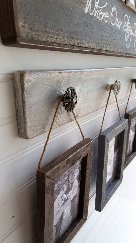 Rustic picture display with frames, Shabby chic photo hanger, Housewarming, Farmhouse wall decor, Gifts for her, Picture hanger