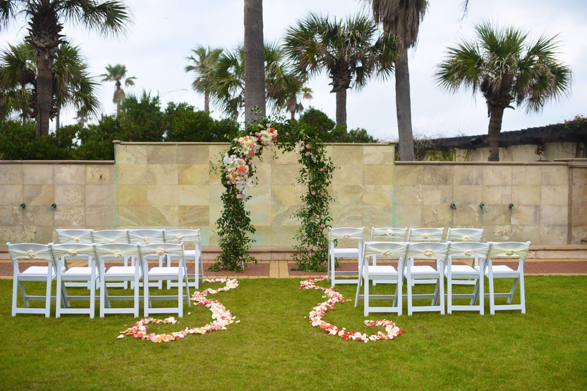 Galveston Intimate Wedding Setup Garden Arch Houston