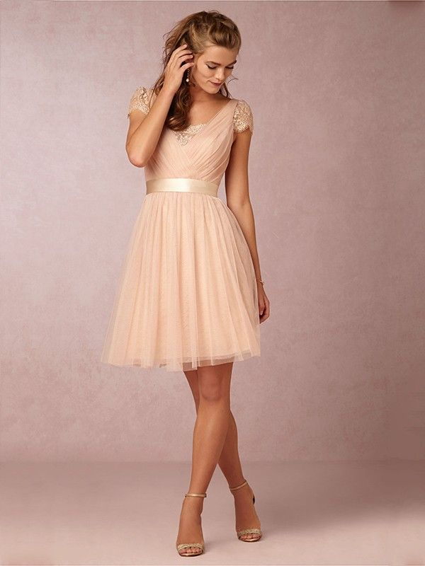 A-Line/Princess Square Short Sleeves Short/Mini Tulle Lace ...