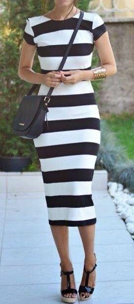 I love black and white striped dresses...