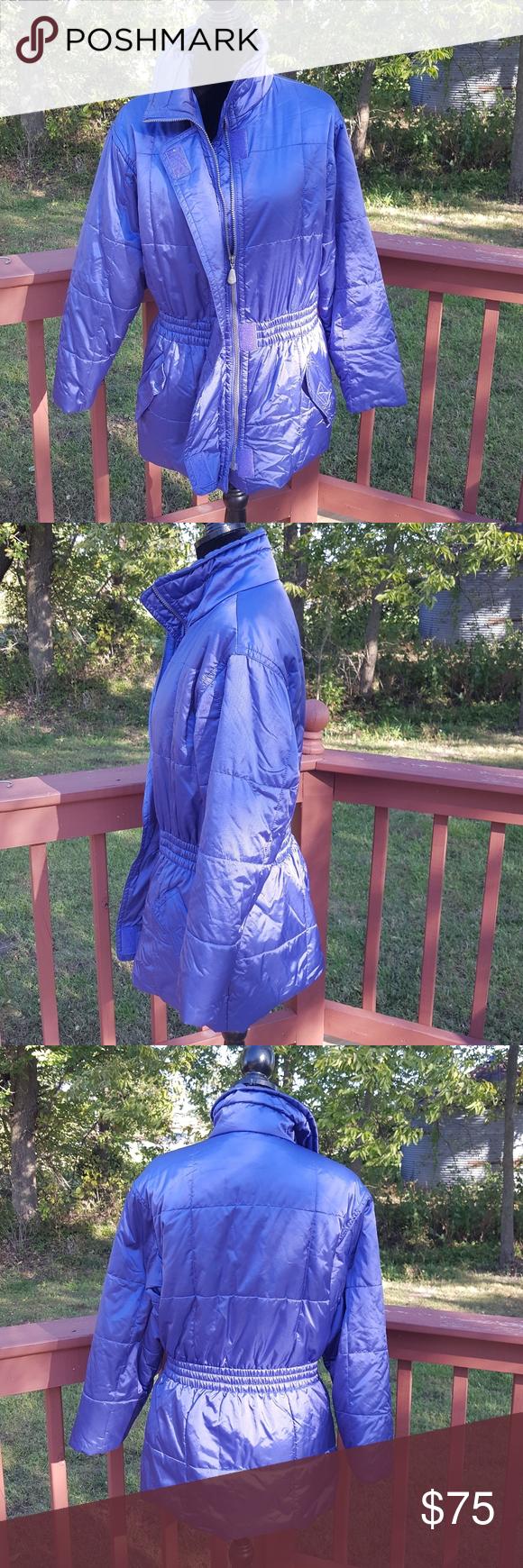 vintage 80s eddie bauer ebtek blue ski jacket coat