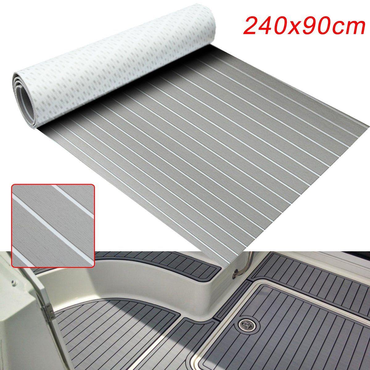240cmx90cmx5mm Marine Flooring Faux Teak Grey With White