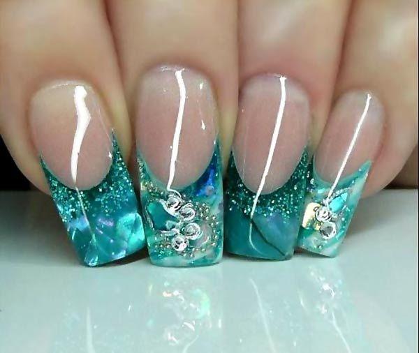 Gorgeous Aqua Glitter Tips French Nails