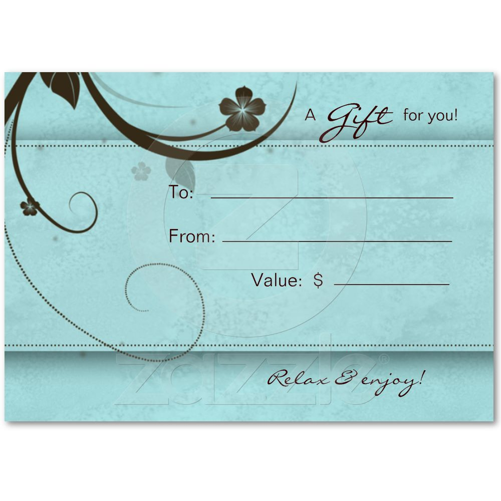 Salon Gift Card Spa Flower watery blue | Salons, Spa and Gift