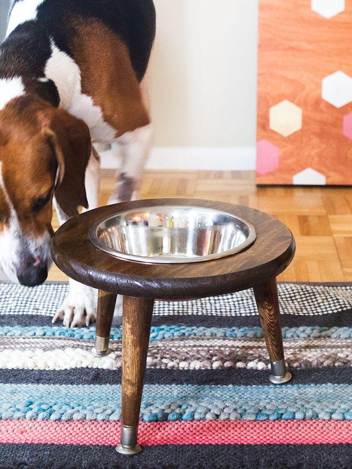 Diy mid century dog bowl stand dog food bowl stand dog