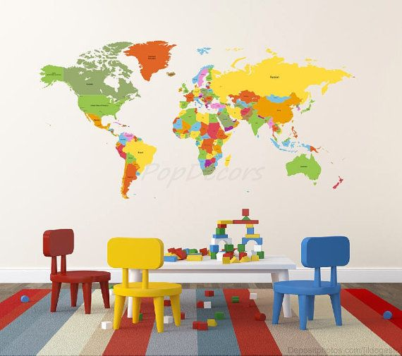 World Map Kids Wall Decals Children Wall Stickers by PopDecors The - fresh world map outline decal