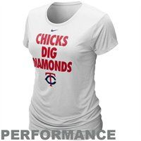 Nike Minnesota Twins Ladies Chicks Dig Diamonds White Performance T-shirt - Christmas list!!