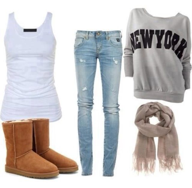 New York grey sweater, light wash tipped denim, brow Uggs, grey scarf and white tank.