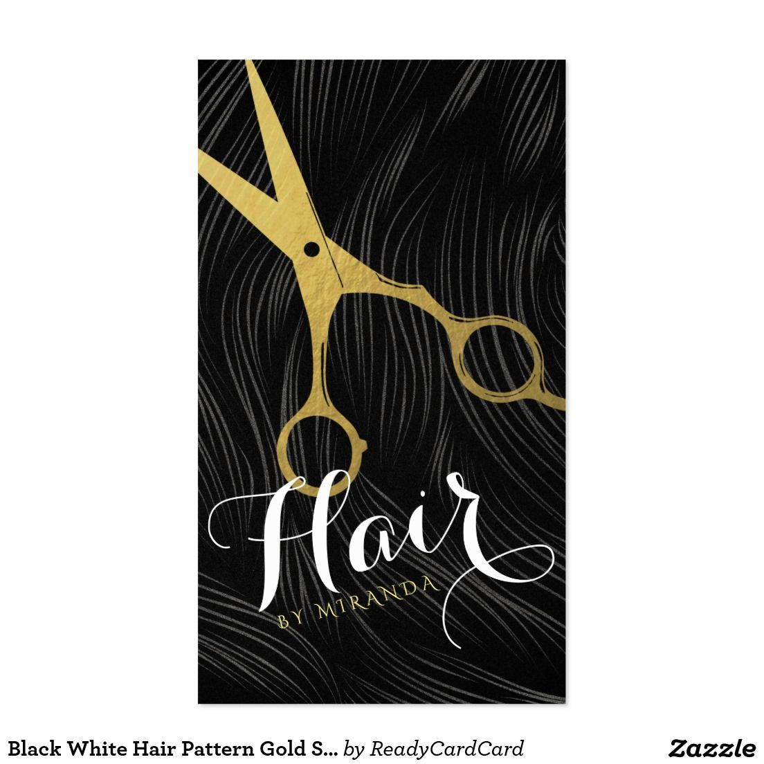 Black White Hair Pattern Gold Scissors Hairstylist Business Card ...