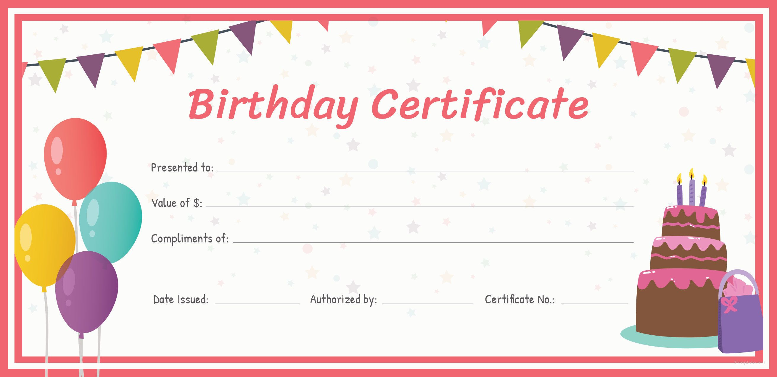 Free birthday gift certificate template in 2020 free