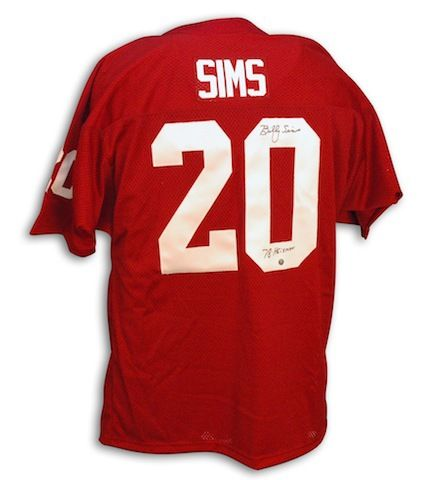 oklahoma sooners 23 red ncaa jerseys  autographed billy sims oklahoma  throwback red jersey inscribed heisman 78 988f3406e