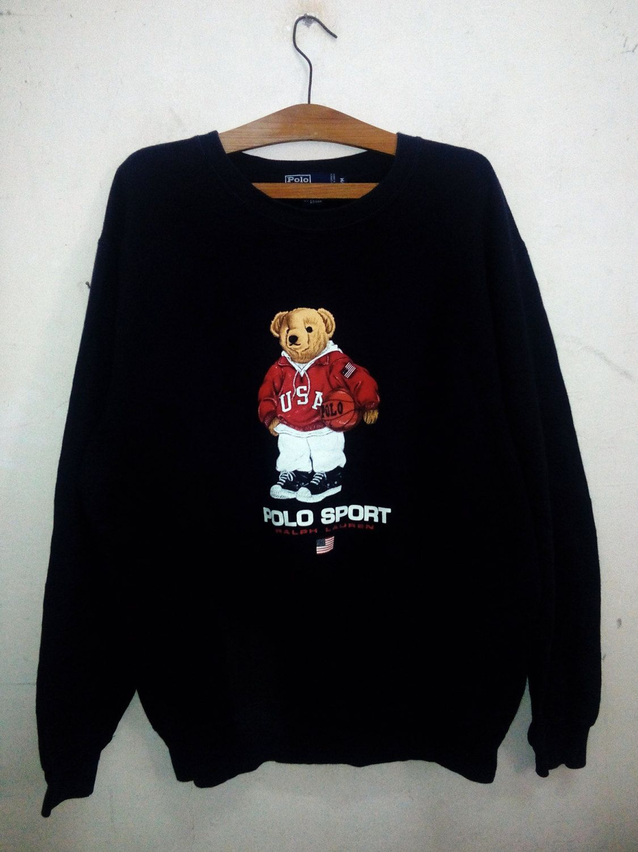 1cf2618c966c6 Vintage Polo Ralph Lauren Bear Polo Sport Sweatshirts 90 s Celebrity  Fashion Style Hip Hop Era Unisex Dark Blue Sz M by Psychovault on Etsy