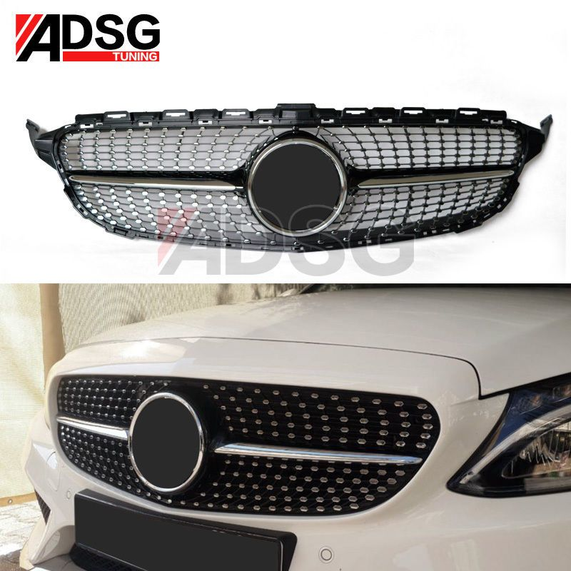 For Mercedes Benz C Class W205 Diamond Grill Black Chrome Sport