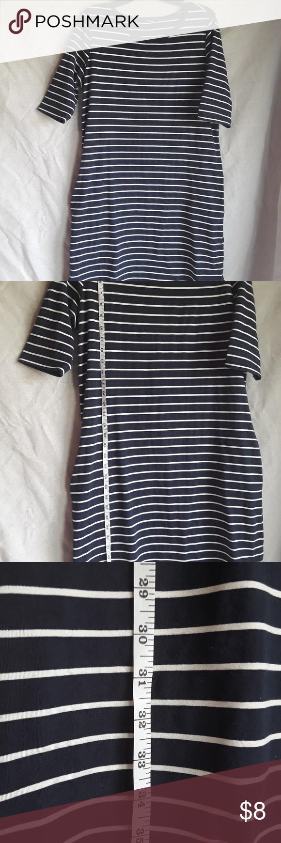 Stretchy Dress Blue With White Stripes Stretchy Dress Clothes Design Blue Dresses [ 1740 x 580 Pixel ]