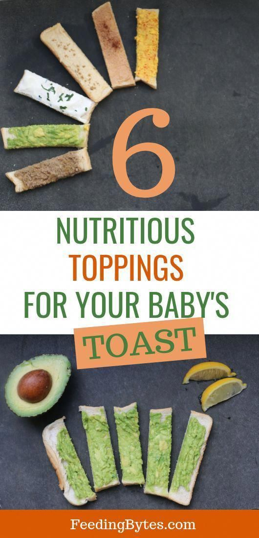 6 Nutritious baby #toast topping ideas for the perfect finger food. These toast baby finger food ideas are great for starting solids and baby led weaning while introducing your baby to new tastes. Feeding Bytes #babyfingerfood #babyfood #babyledweaning #babyfoodrecipes #startingsolids #healthybabyfood #startingsolidfoodsforbaby