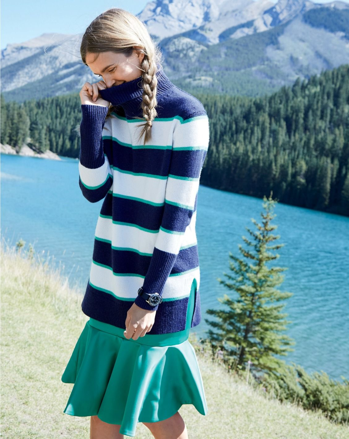 J.Crew women's striped collection turtleneck sweater and collection fluted  skirt in Italian satin.
