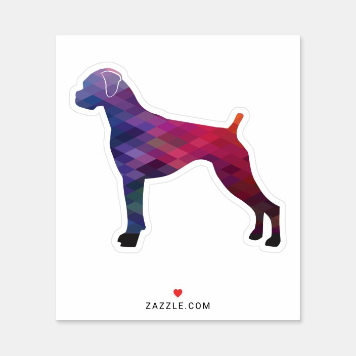 Boxer Dog Natural Ears Geo Silhouette Purple Sticker Zazzle Com In 2020 Boxer Dogs Boxer Dog Breed Dog Breed Art
