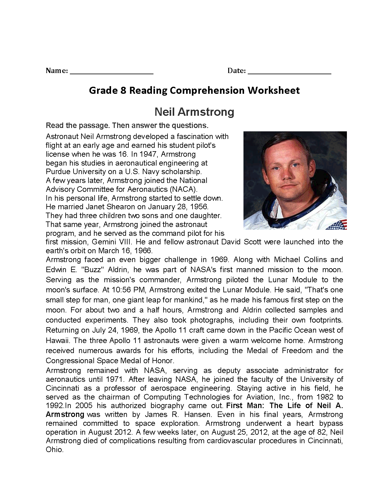 Neil Armstrong Eigth Grade Reading Worksheets With Images