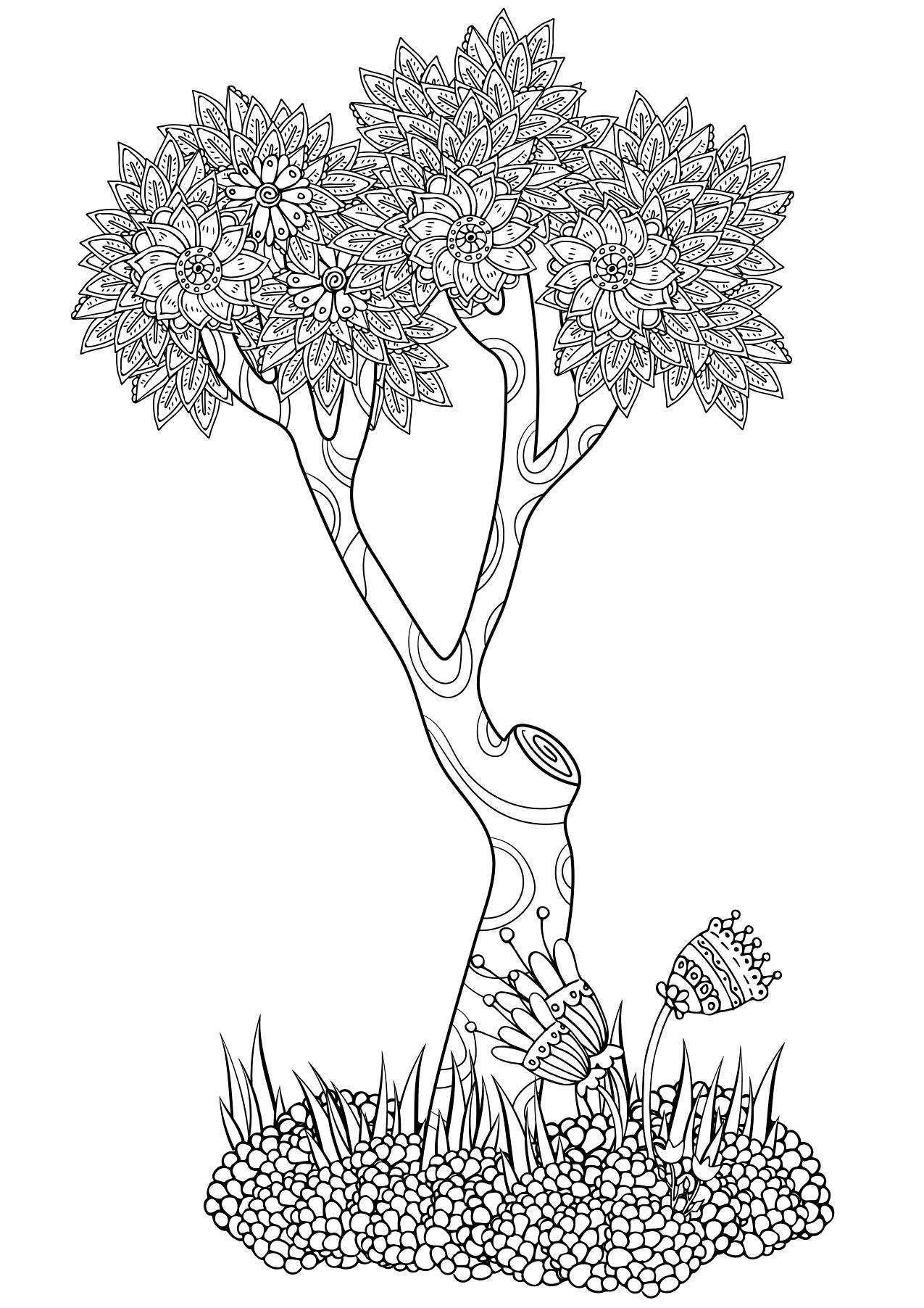 abstract tree coloring page colouring trees leaves