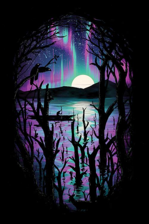 Night With Aurora - Canvas Print