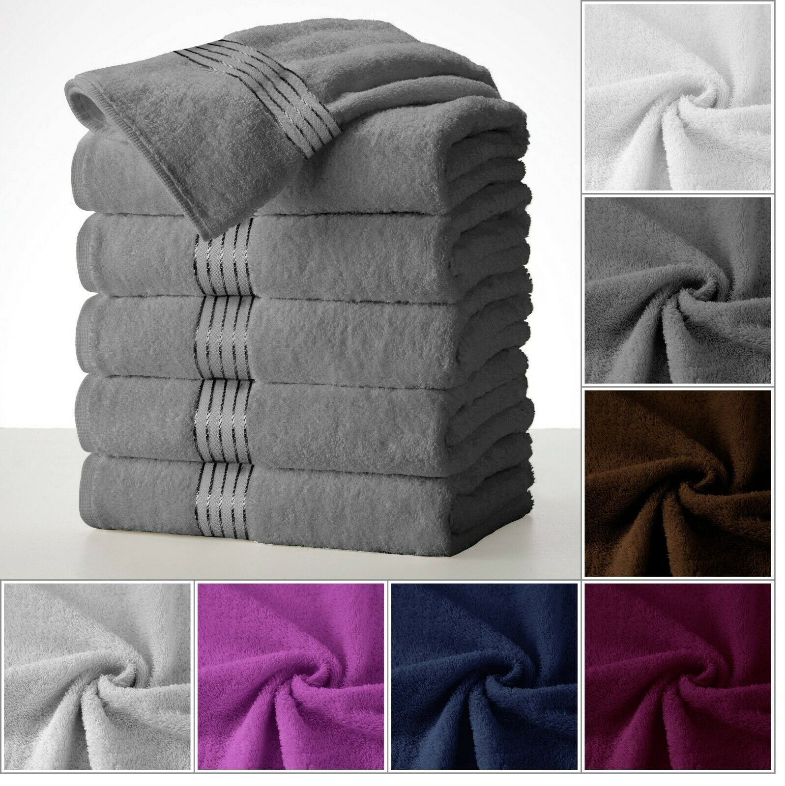 Large Bath Towel Packs Sets Sheets 100 Cotton 27 X58 450 Gsm