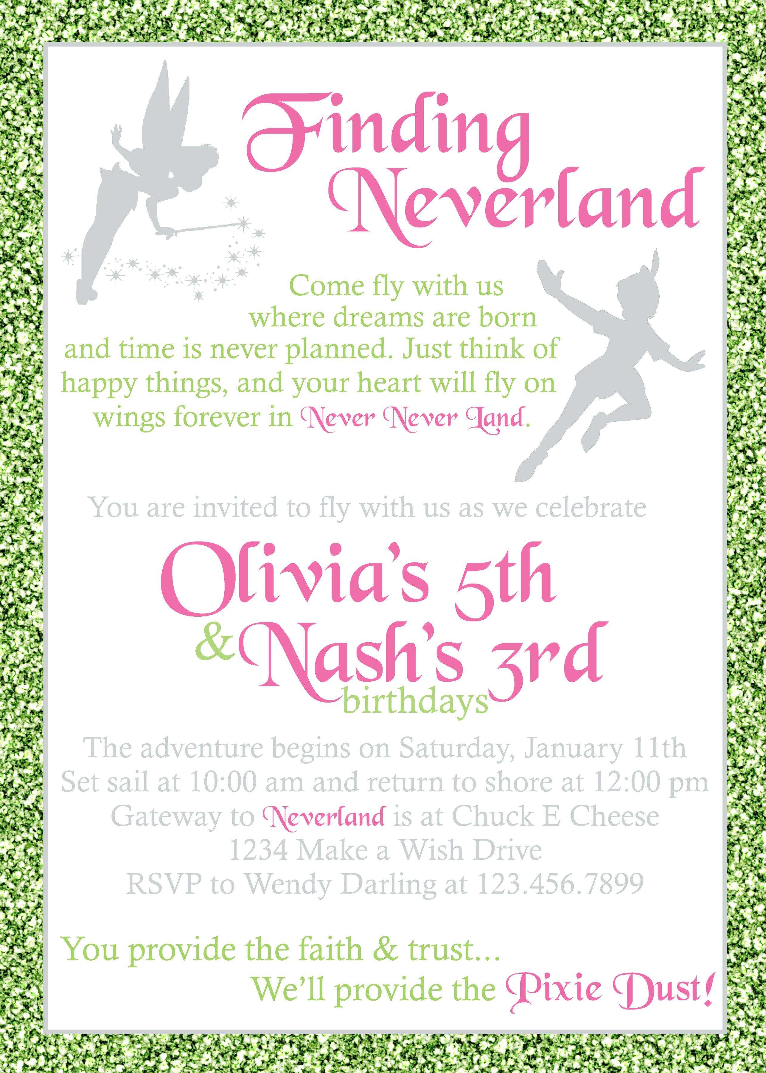 Peter Pan And Tinker Bell Invitation Kid S Birthday Invitations