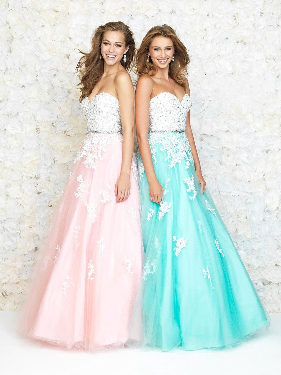 Wishesbridal Formal Blue Sweetheart Floor Length Tulle A Line Prom ...