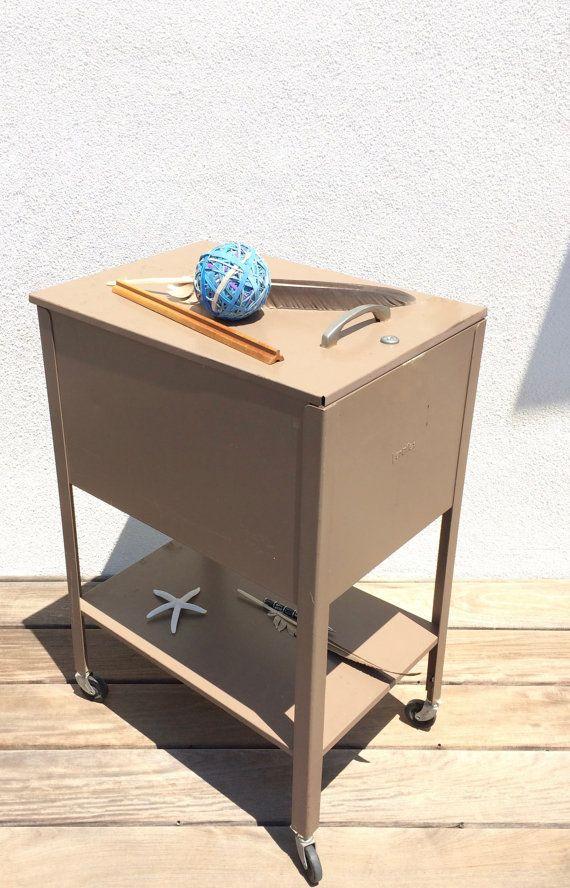 VERTIFLEX Rustic Rolling File Cabinet Retro Office Industrial Storage Top  Opening Vintage Bar Cart