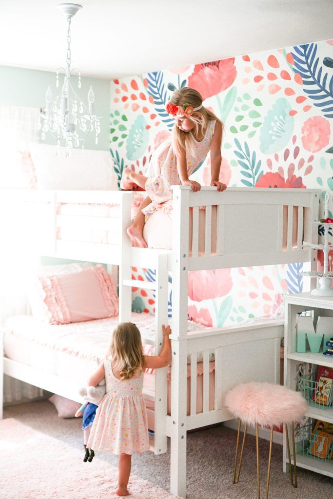 Updating Our Big Girls' Bedroom with Wallpaper -