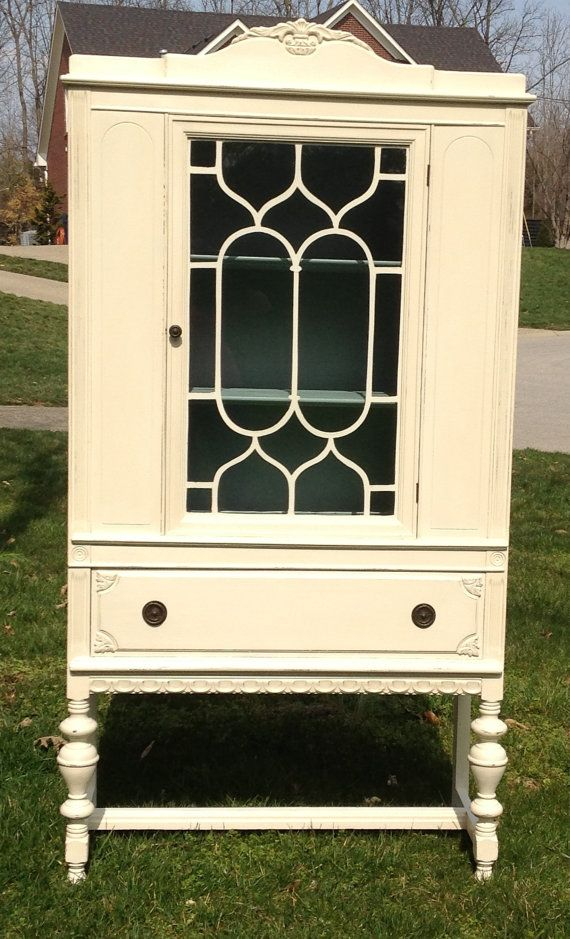 Items similar to SOLD - Antique Upcycled China Cabinet Painted Creamy White  on Etsy - Creamy White Antique China Cabinet By VintagePieceRedeemed On Etsy