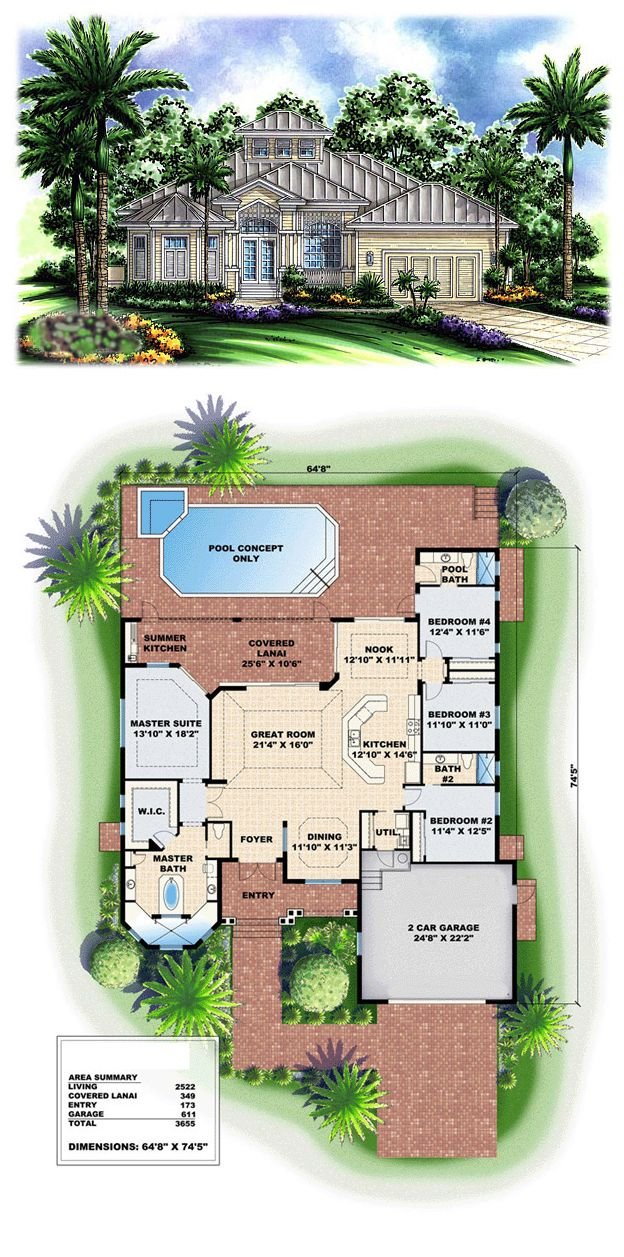 Mediterranean Style House Plan 60758 With 4 Bed 3 Bath 2 Car Garage Florida House Plans Mediterranean Style House Plans Cracker House