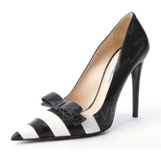#AdoreWe #DressWe DressWe Stylish Stripe Pointed-Toe Bowknot Stiletto High Heels Pumps - AdoreWe.com