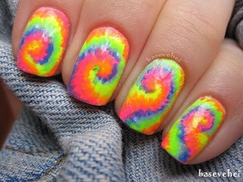 Rainbow Tie Dye Nails Tutorial Basevehei