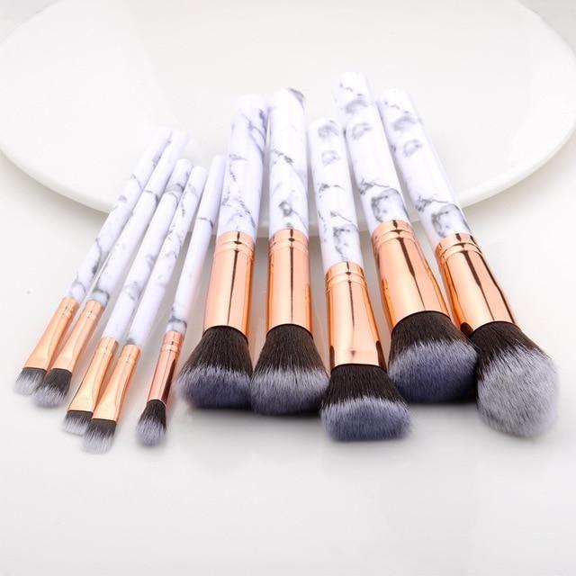 Marmor Design Makeup Pinsel Sets 5 Stück, 10 Stück, 15 Stück – 10 Stück weiß