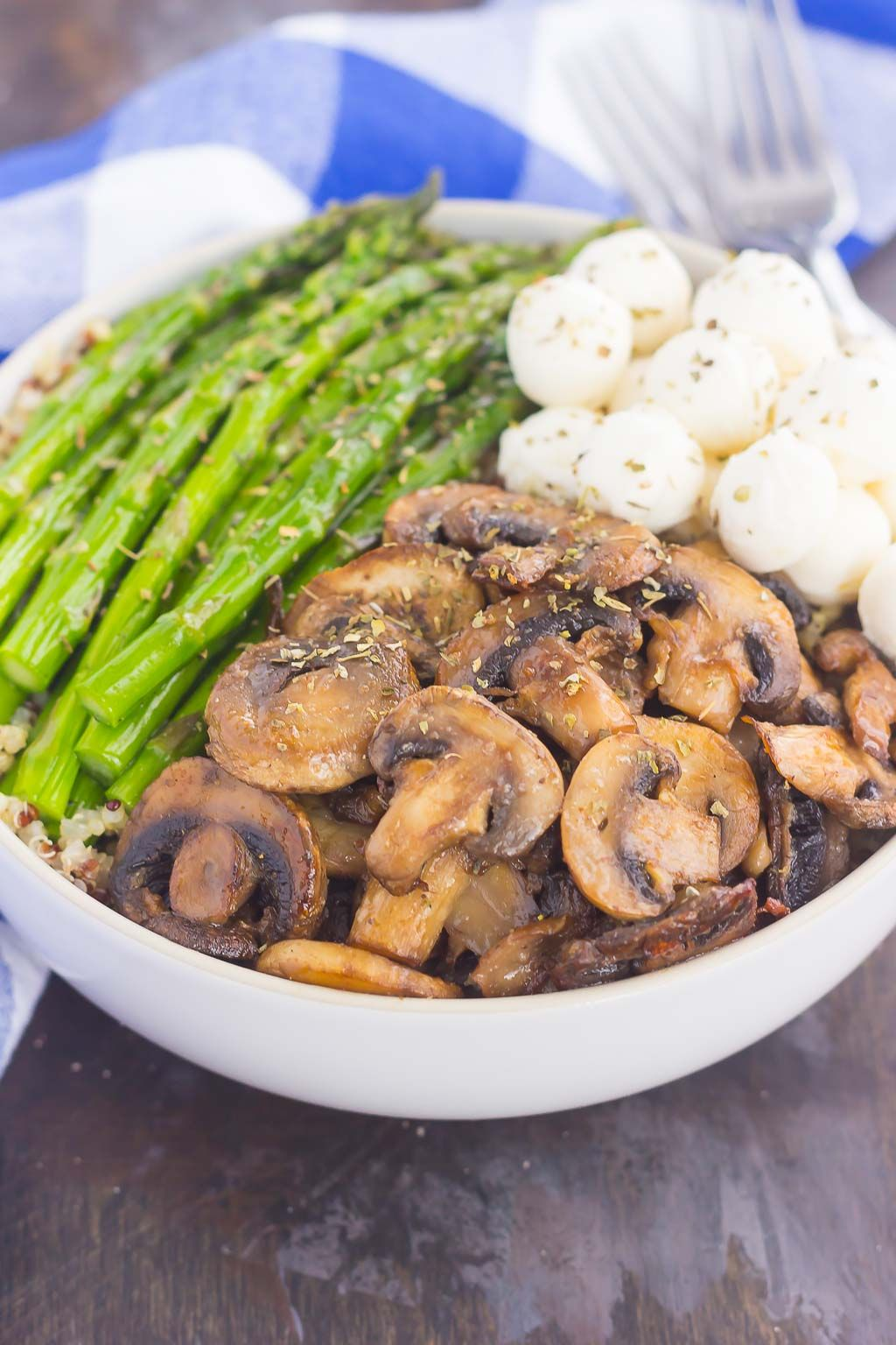 If you're looking for a new favorite recipe, this Asparagus and Mushroom Quinoa Bowl will become