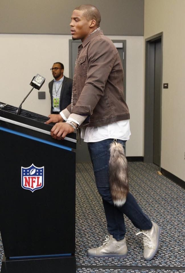 Cam Newton in his skinny jeans