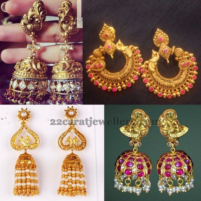 Gold Chandbalis and Antique Jhumkas Gold Indian jewelry and Jewel