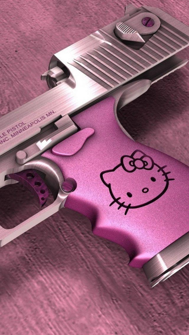 Hello Kitty Desert Eagle Gun Wallpaper