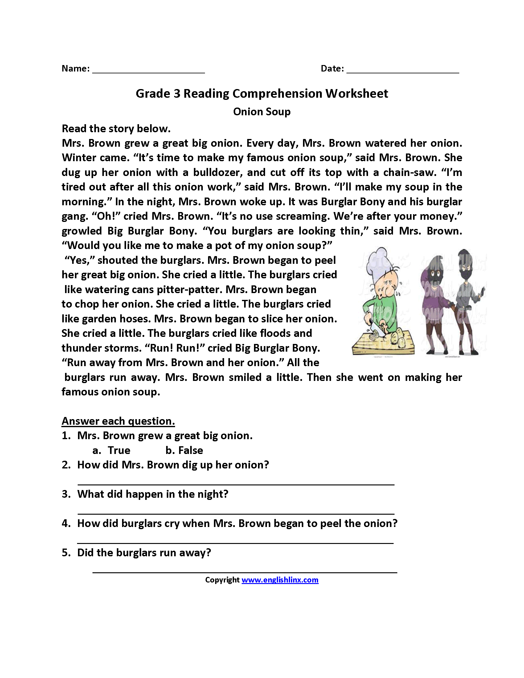 - Onion Soup Third Grade Reading Worksheets Third Grade Reading
