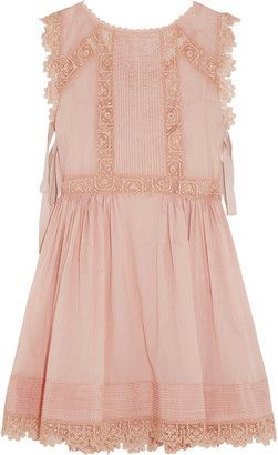 RED Valentino Crochet-Trimmed Cotton-Voile Mini Dress