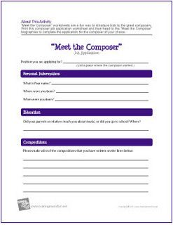 Meet The Composer Job Application  Free Printable Worksheets