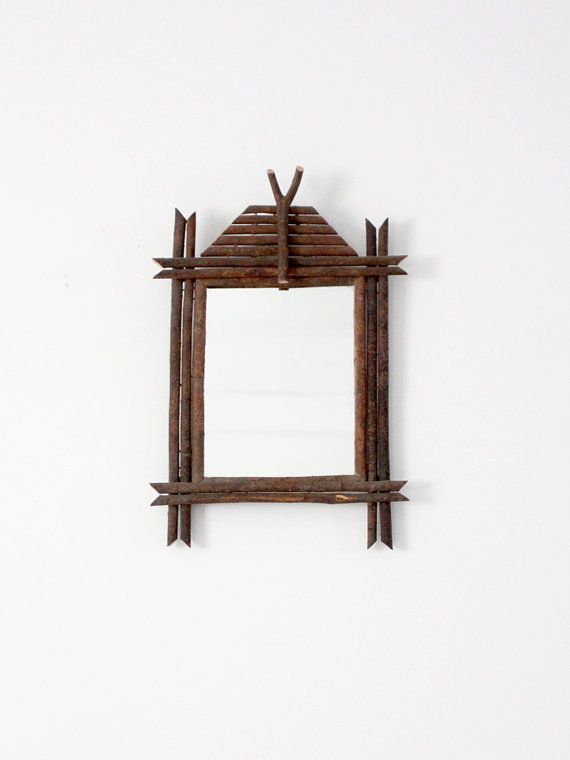 Your place to buy and sell all things handmade #twigart antique Adriondack twig art mirror by 86home on Etsy #twigart
